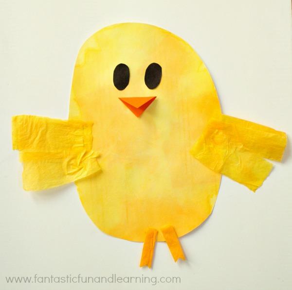 Chick Bleeding Tissue Paper Easter Craft