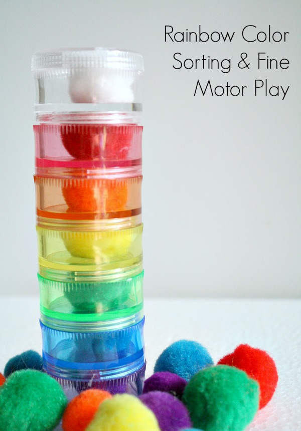 Rainbow Color Sorting and Fine Motor Play for Toddlers