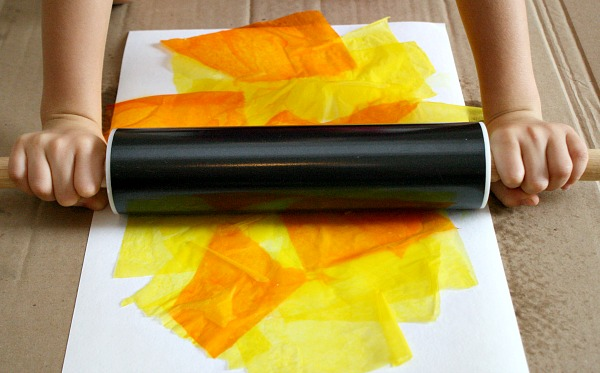 Rolling Pin Tissue paper painting
