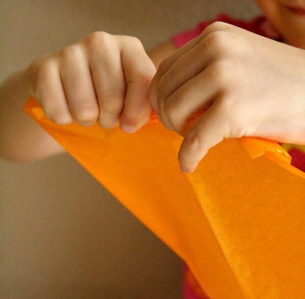 Tearing Tissue Paper-Fine Motor Activity
