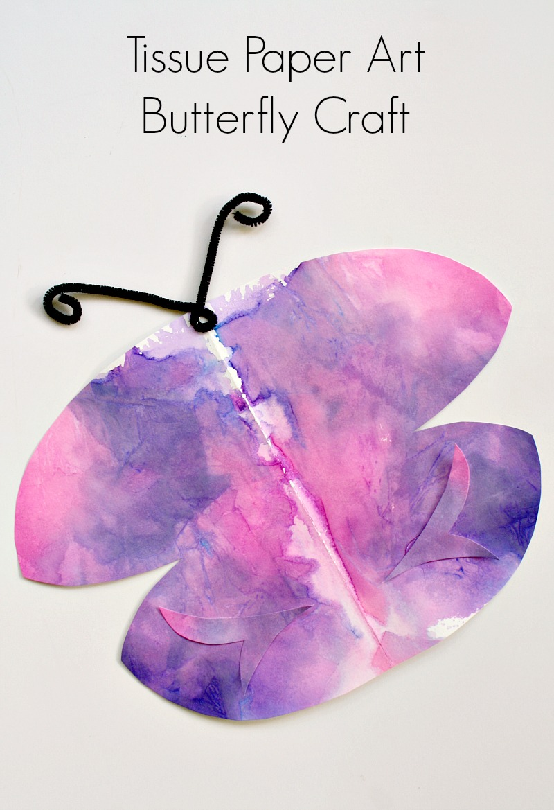 Tissue paper art symmetry butterfly craft fantastic fun for Paper art butterfly