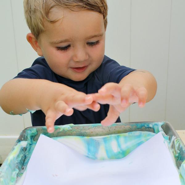 Toddler Art Activity-Shaving Cream Painting
