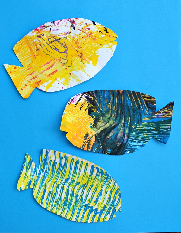 Fork Painted Fish-Art for Kids