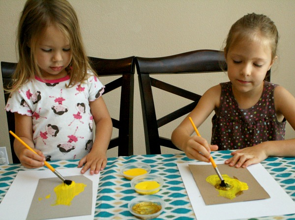 Painting stars for moon craft