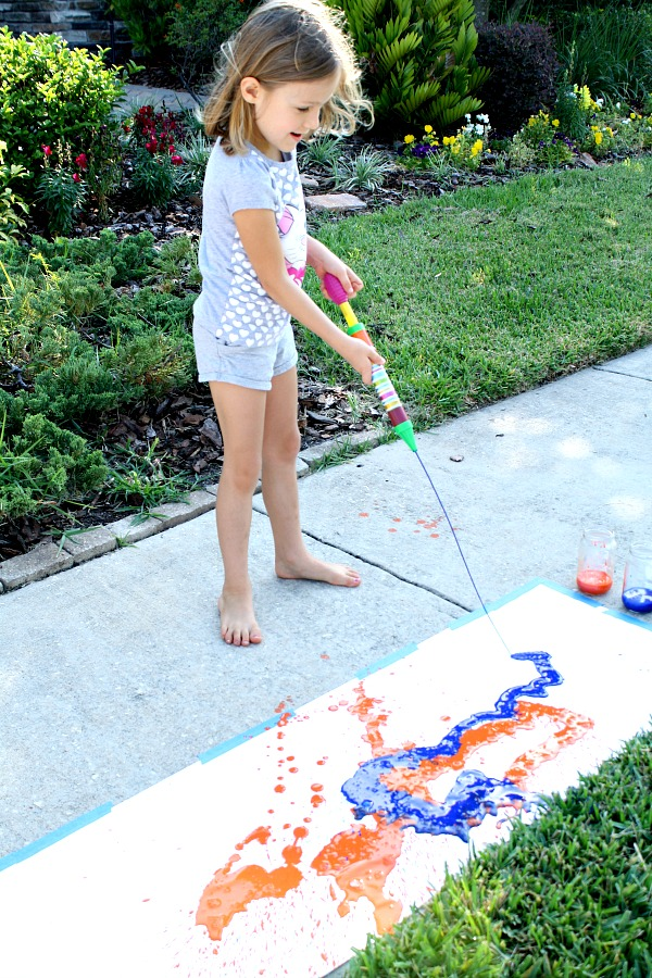 Painting with water shooters-Summer Art