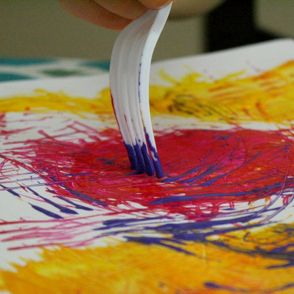 Preschool Art-Fork Painting