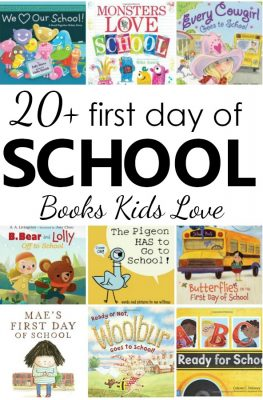 20+ favorite first day of school books for preschool and kindergarten. Fun books to read for kids with first day jitters #preschool #kindergarten #backtoschool #booklist #kidlit