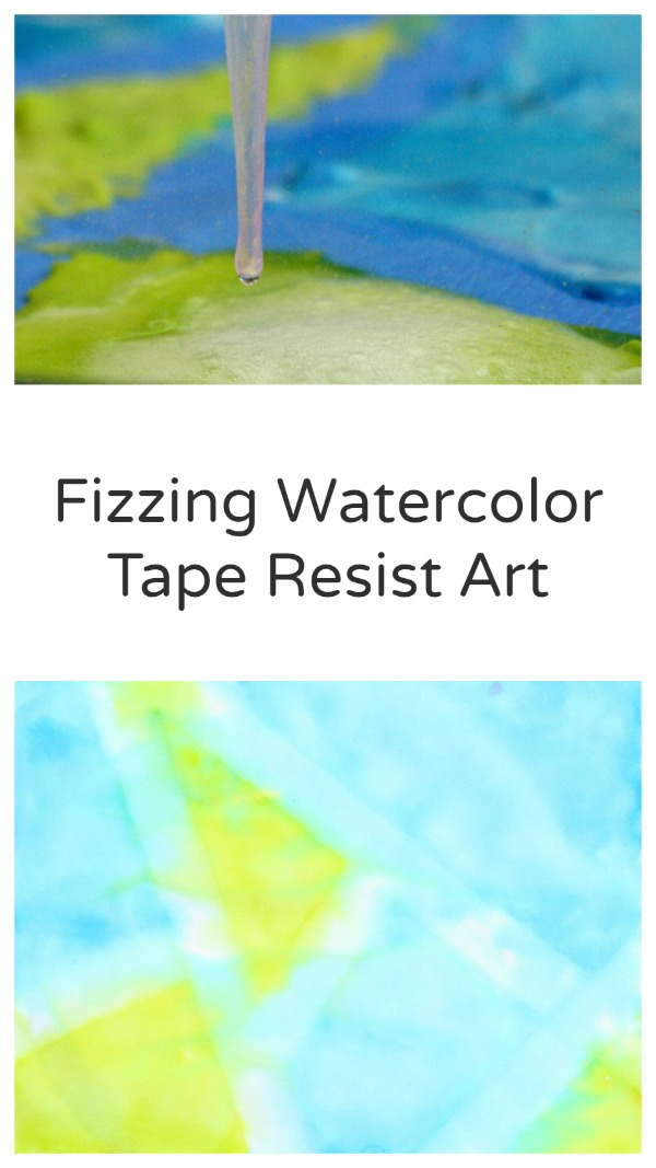 Fizzing Watercolor Tape Resist Art ~Fun science investigation and art for kids