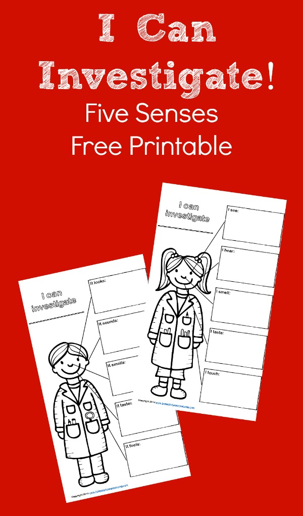 I Can Investigate Five Senses Free Printable for Science Experiment