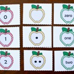 Apple Number Cards for Kindergarten