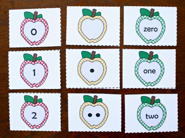 Apple Number Cards for Kindergarten