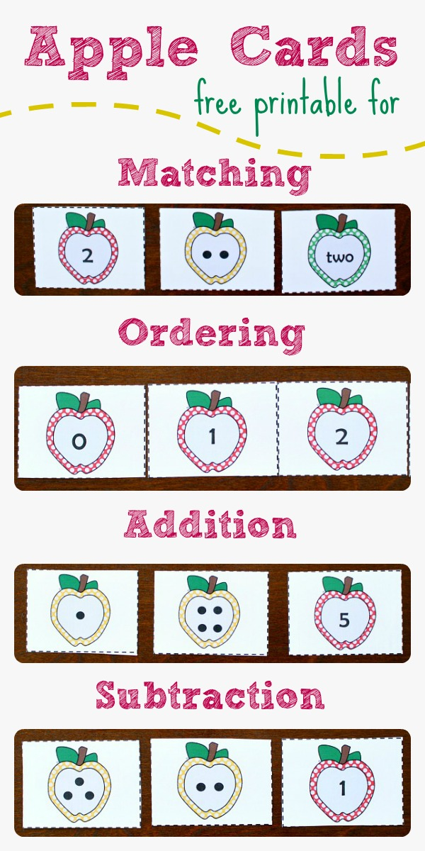 Apple Number Cards~Free Printable for Numbers 0 to 5 to use for matching, ordering, addition, and subtraction