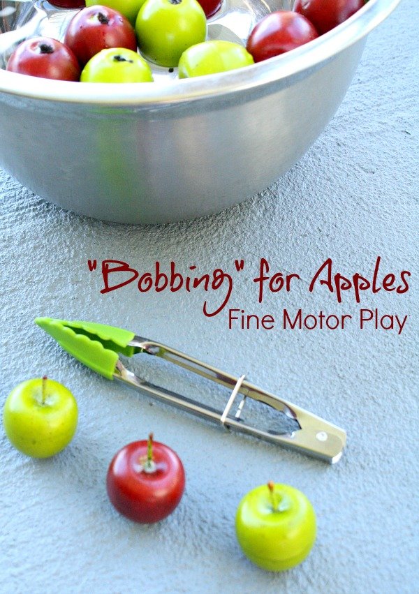 Bobbing for Apples fine motor play fall activity for kids