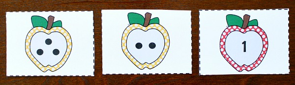 Subtraction with free printable apple number cards