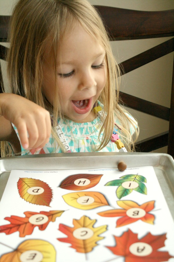 Roll and Say Fall ABC Game for Preschoolers