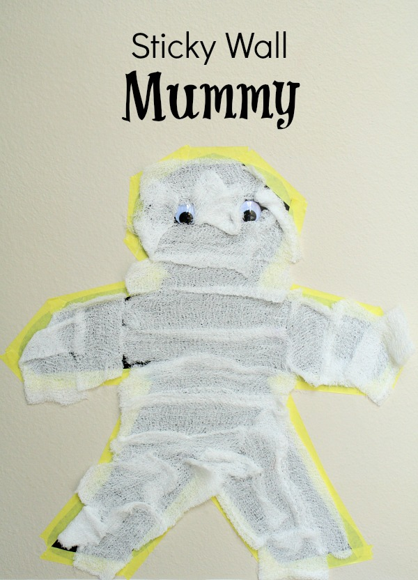 Sticky Wall Mummy Craft for Halloween