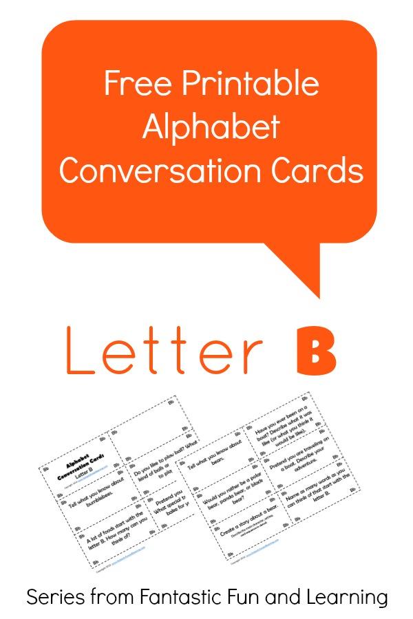 Free Printable Alphabet Conversation Cards-Letter B
