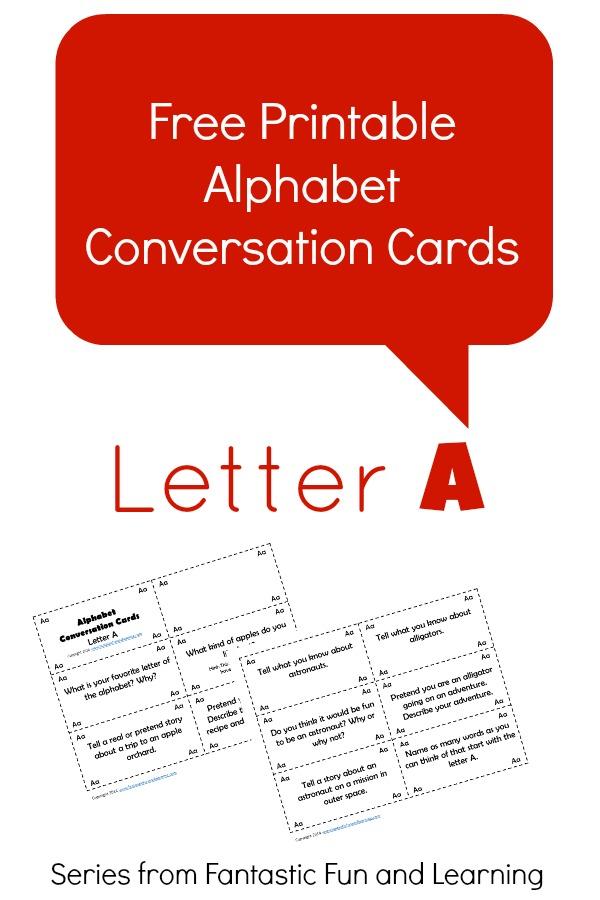 Letter A Alphabet Conversation Cards