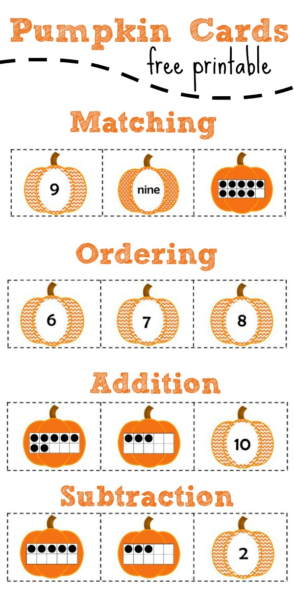 Free Printable Pumpkin Number Cards for 0 to 10