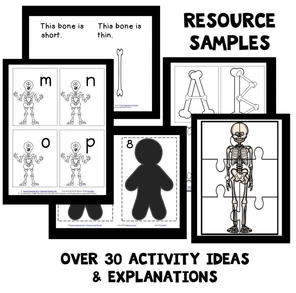 The full Skeleton Theme Lesson Plan Pack also includes: