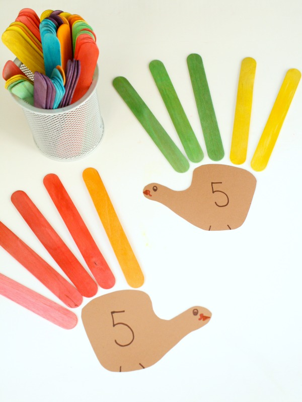 Turkey Feather Addition Thanksgiving Activity for Kids-Number pairs activity for kindergaten and first grade