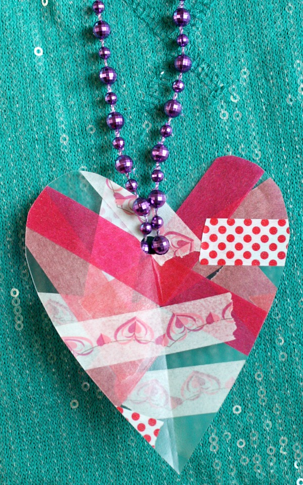 Easy Heart Necklace Craft for Kids