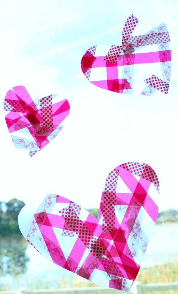 Easy Heart Craft Suncatcher With No Contact Paper