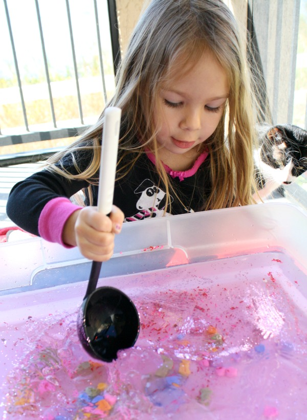 Valentine's Day Activity-Candy Heart Water Play