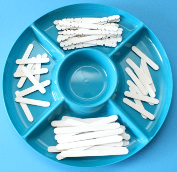 Materials for Popsicle Stick Snowflake Art