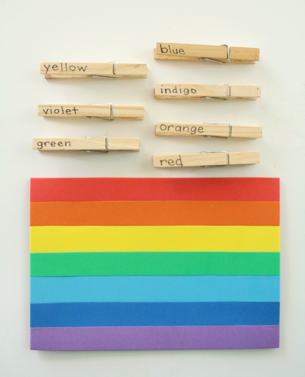 Rainbow Color Word Kindergarten Activity