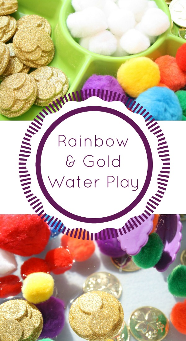 Rainbow and Gold Pom Pom Water Play for St. Patrick's Day