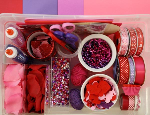 Valentine Creation Station for Kids~Creative Art Activity for Valentine's Day