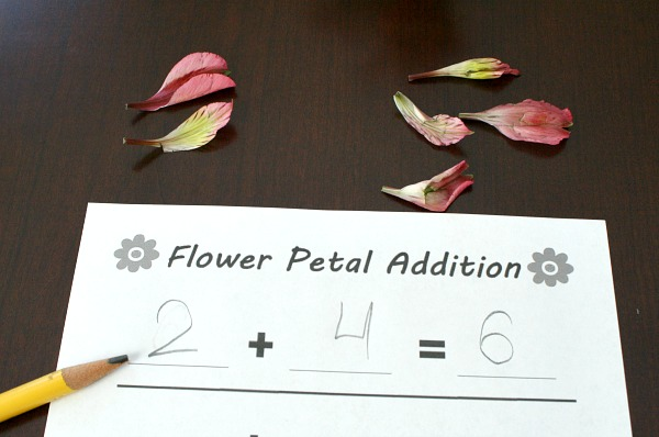 Flower Petal Addition Hands-on Math