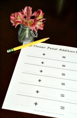 Flower Petal Addition Kindergarten math activity with free printable