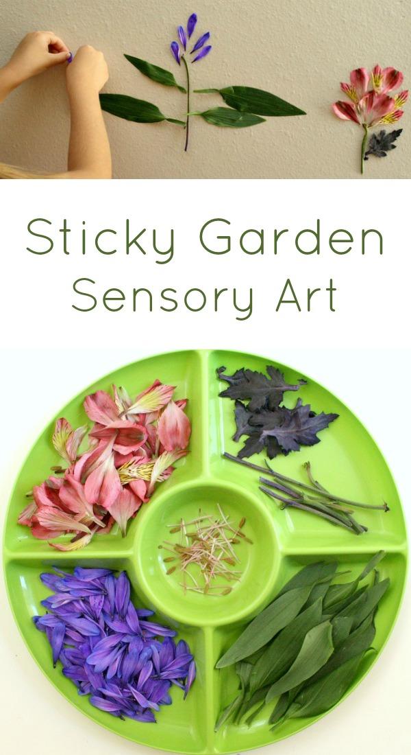 Sticky Flower Garden Sensory Art for Kids