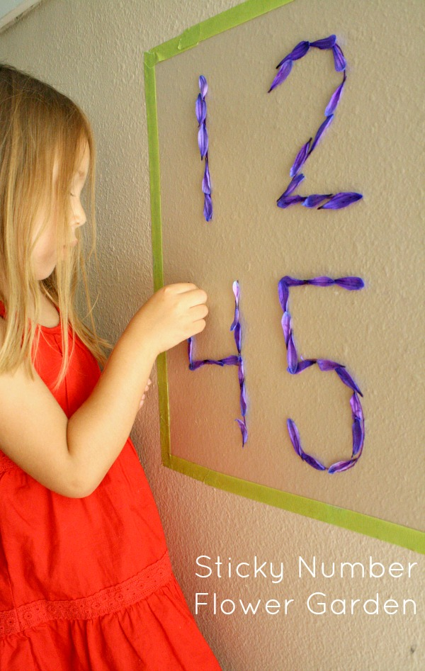 Sticky Number Flower Garden~Use flower petals to practice number formation in this fun sensory math activity for preschoolers