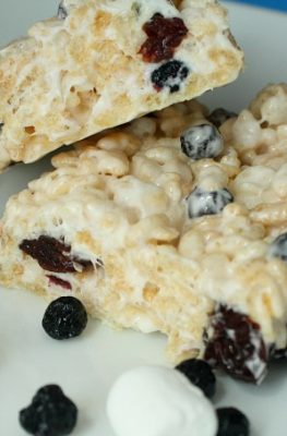 Blueberry Cherry Rice Krispies Treats