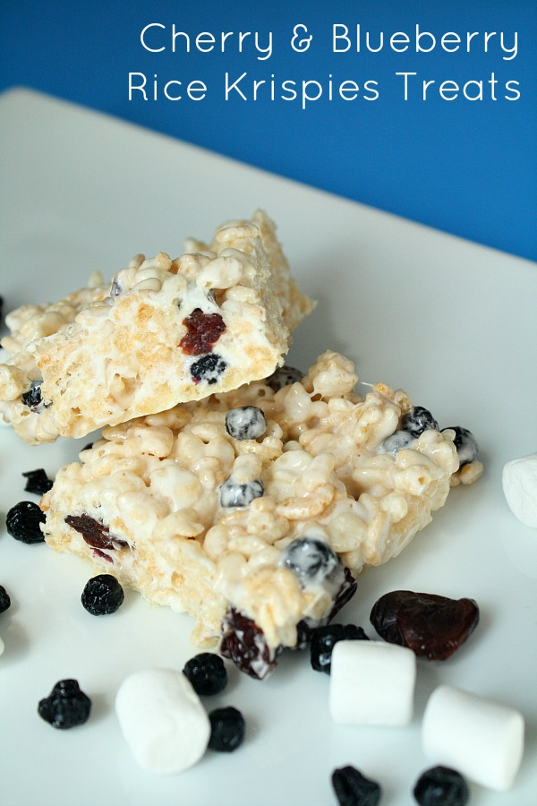 Cherry and Blueberry Rice Krispies Treats