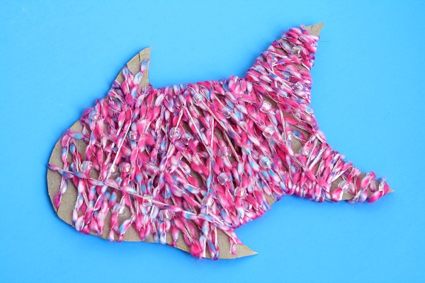 Yarn-Wrapped Fish Craft with Shimmering Scales