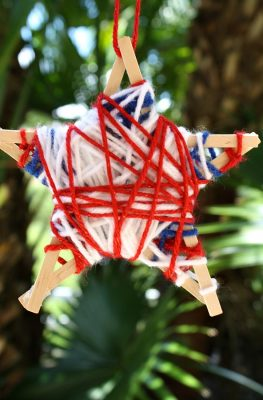 Yarn-Wrapped Stars Fourth of July Craft