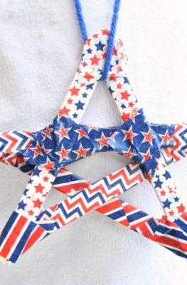 Washi Star Necklace 4th of July Craft