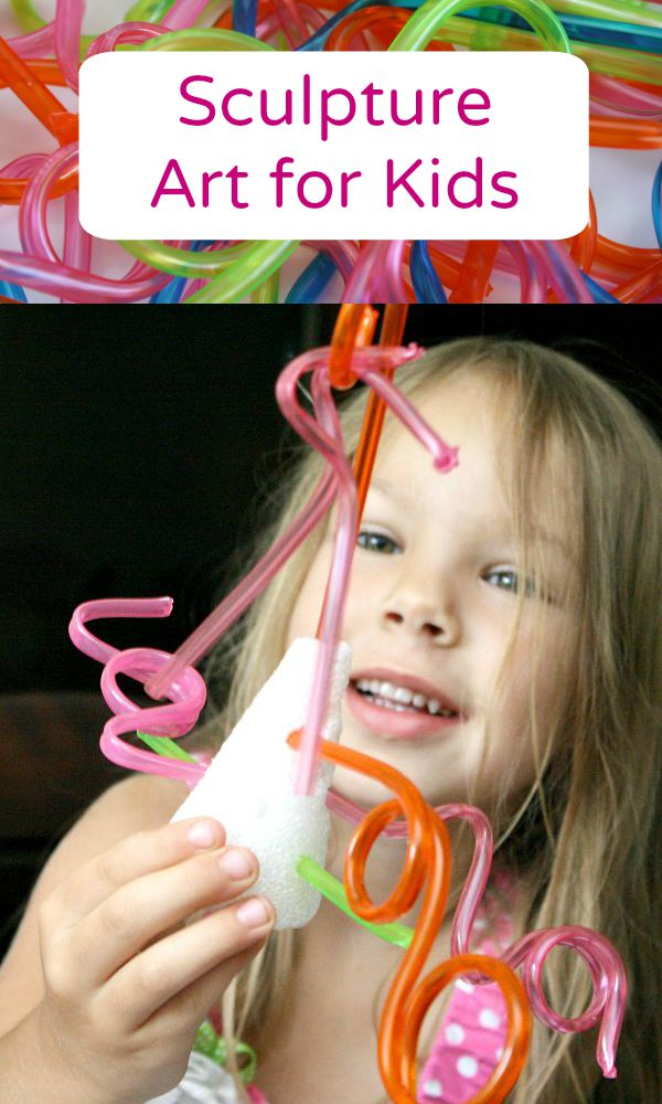 Sculpture Art for Kids-Simple invitation to create with styrofoam shapes and crazy straws