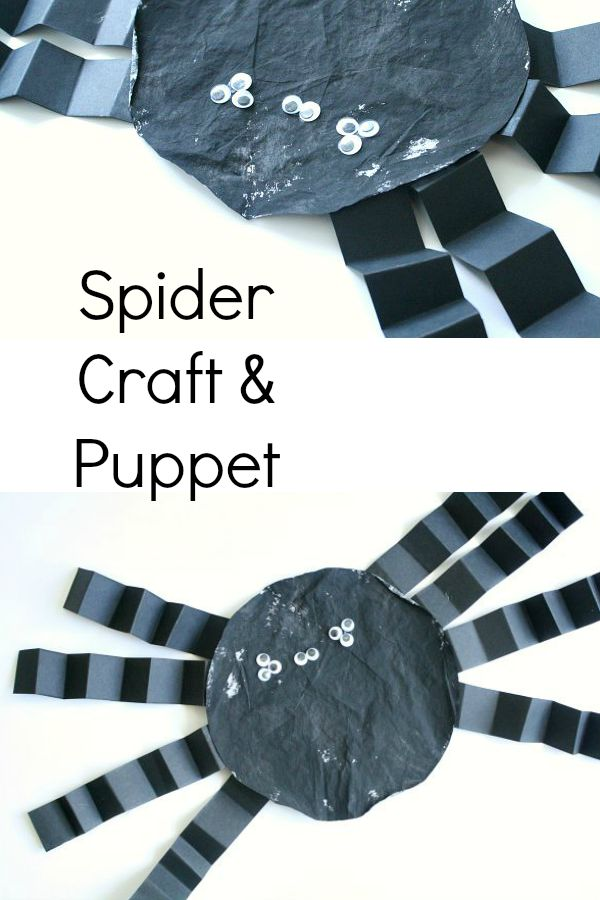 Coffee Filter Spider Craft and Puppet for Halloween or an Itsy Bitsy Spider Activity