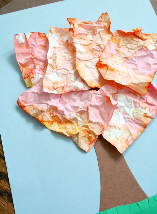 Crumpled Paper Tree Fall Craft for Kids