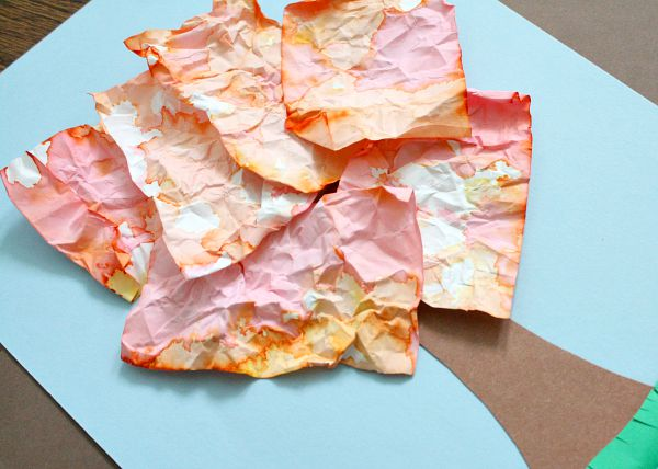 Fall Art for Kids-Crumpled Paper Tree Craft