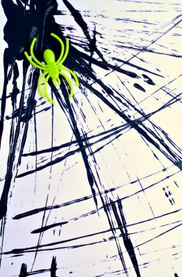 Halloween Process Art for Kids-Dough Cutter Painted Spider Webs