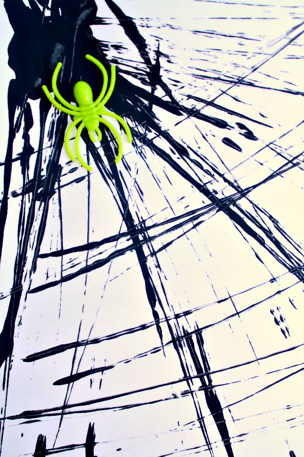 Halloween Process Art for Kids-Dough Cutter Painted Spider Webs