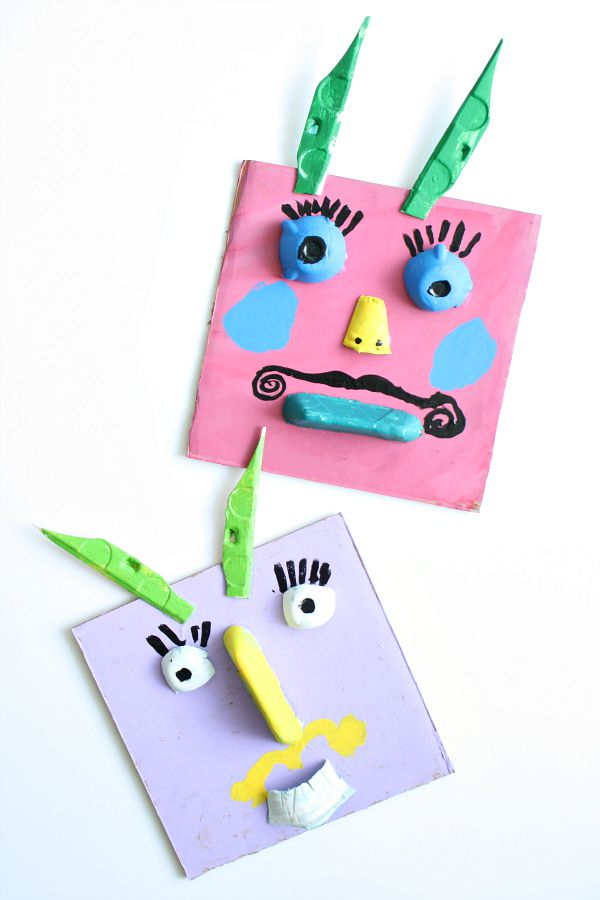 Silly monster craft collage art fantastic fun learning for Waste material activity