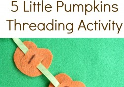 5 Little Pumpkins Threading Fine Motor Halloween Activity