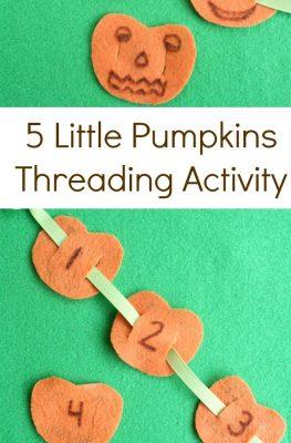 5 Little Pumpkins Threading Fine Motor Halloween Activity